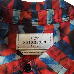 Urban Outfitters Shirts - Your Neighbors Abstract Floral Striped Button Down